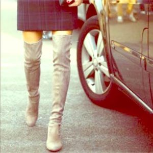 Grey Suede Over The Knee Heeled Boots